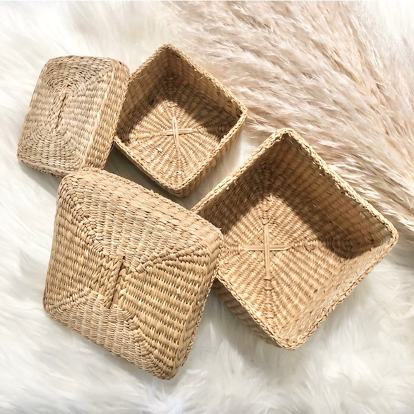 Set Vintage square woven small with lids baskets